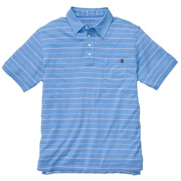 Pocket Polo: Bocce Blue Stripe